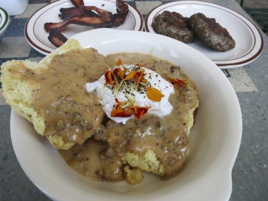 Parks & Rec diner's biscuits and gravy, made with three