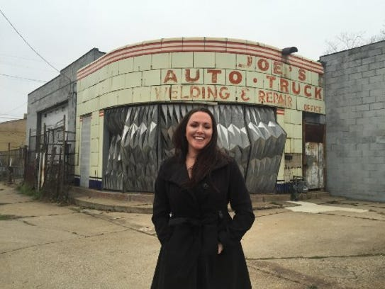 Chef Kate Williams stands in front of the former garage