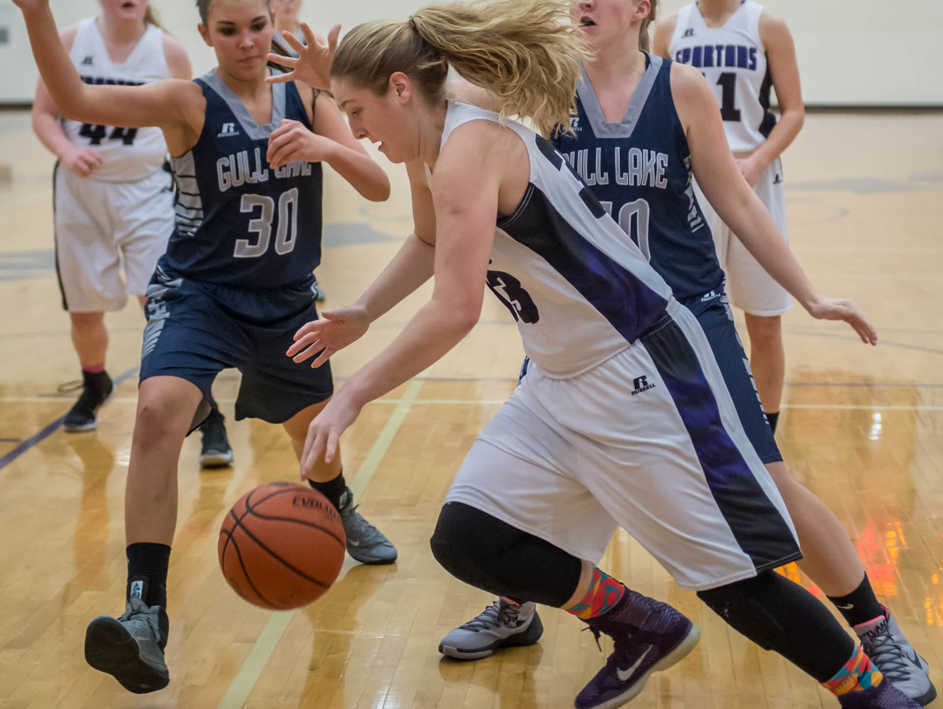 Lakeview's Jessalynn Genier goes for the ball against Gull Lake in Friday evening's game.