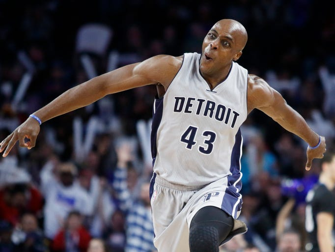 Pistons forward' Anthony Tolliver celebrates after
