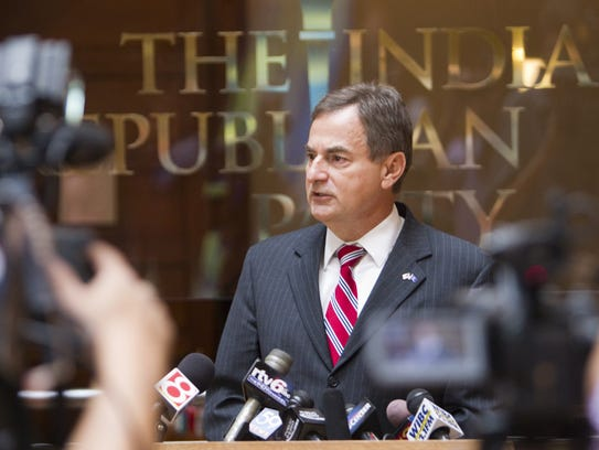 Richard Mourdock, then the GOP candidate for U.S. Senate from Indiana, addresses media about comments he made a day earlier about God and rape.