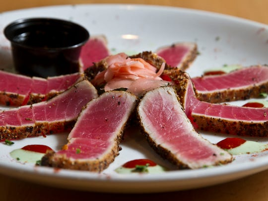 The peppercorn-crusted ahi tuna appetizer at Lighthouse Tavern.