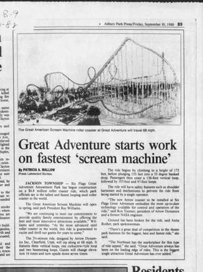 1988: The Sept. 30, 1988 edition of the Asbury Park Press covered the construction of the Great American Scream Machine roller coaster at Six Flags Great Adventure.