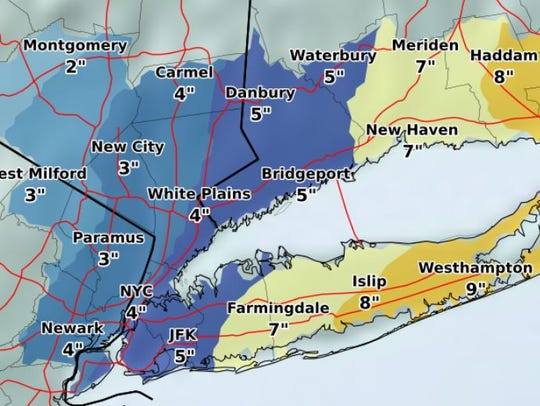 Expected snowfall in the nor'easter forecast for Thursday,