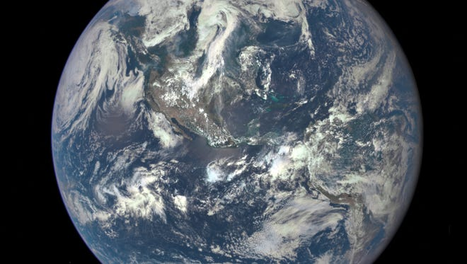 A handout photo released by NASA in July shows an image taken by a NASA camera on the Deep Space Climate Observatory (DSCOVR) satellite.