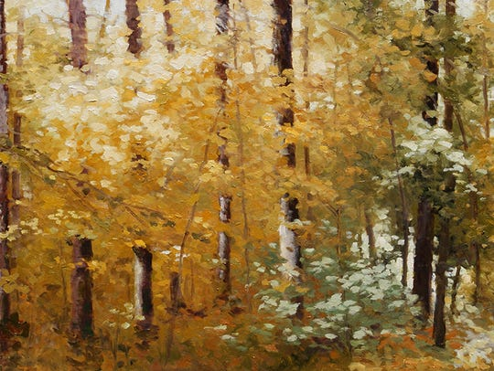 Alan Patrick, Autumn Woods, oil on panel