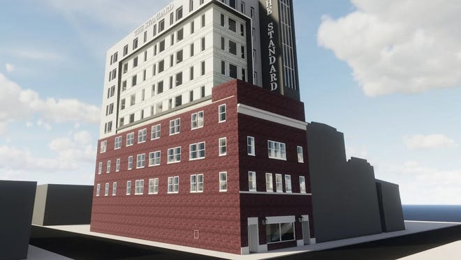 This architect's drawing of 132 E. Main St. in Salisbury shows a six-story addition that is planned for the building