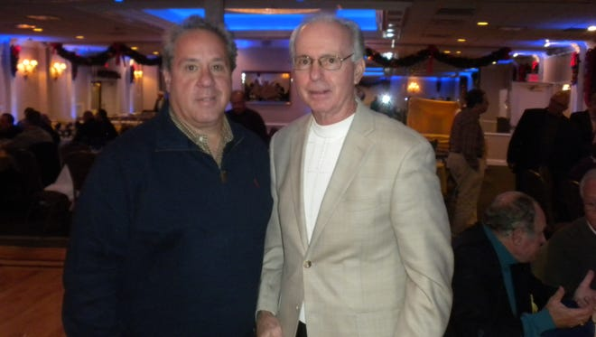 Former Belleville High head coach John Senesky (right), with Phil Agosta, was a guest at the 2016 dinner.