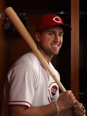 West Nyack native Patrick Kivlehan of the Cincinnati Reds poses for a portait during a MLB photo day at Goodyear Ballpark on February 18, 2017 in Goodyear, Arizona.