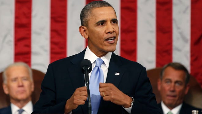 President Obama delivers his State of the Union address on Capitol Hill on Jan. 28, 2014.