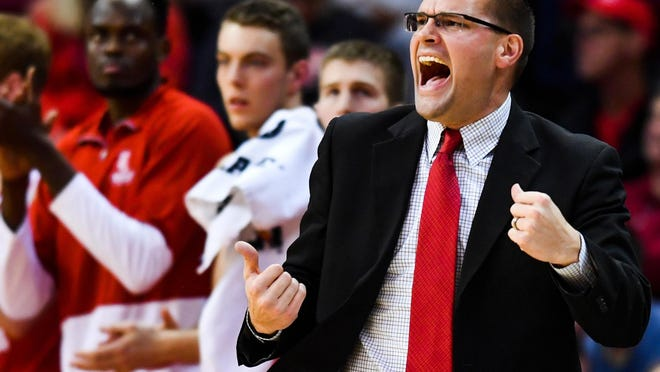 Bradley men's basketball coach Brian Wardle directs his players during a MVC game with ISU at Redbird Arena.