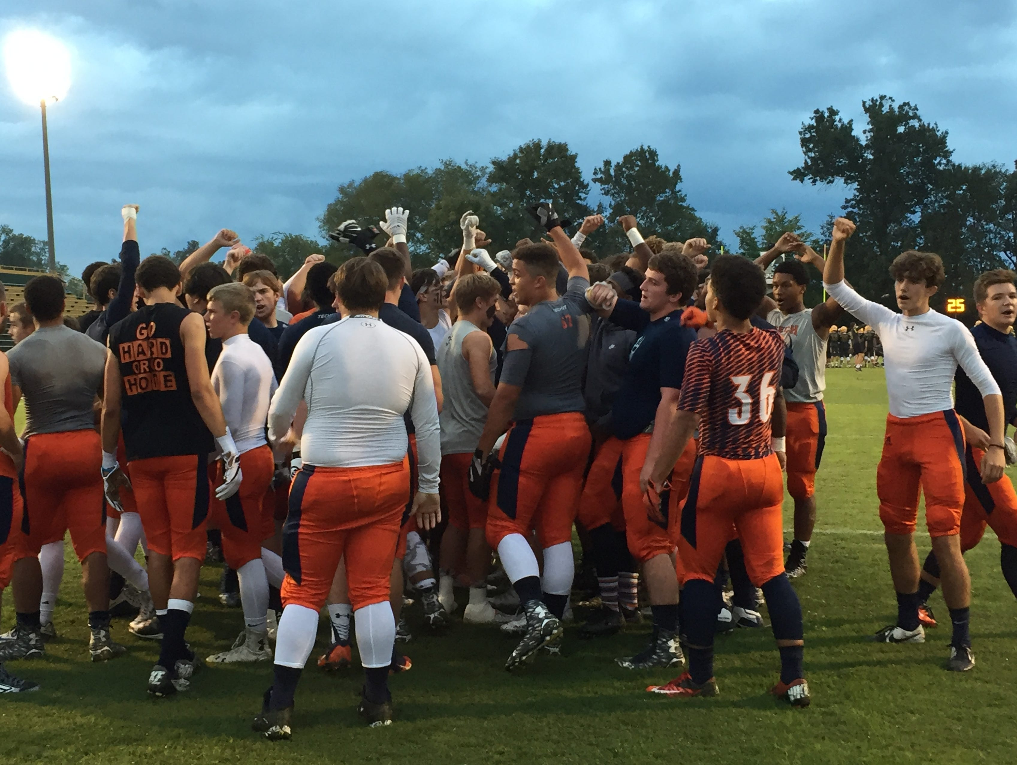 Beech High players huddle together during pregame warmups prior to their game at Gallatin on Friday, September 30, 2016.
