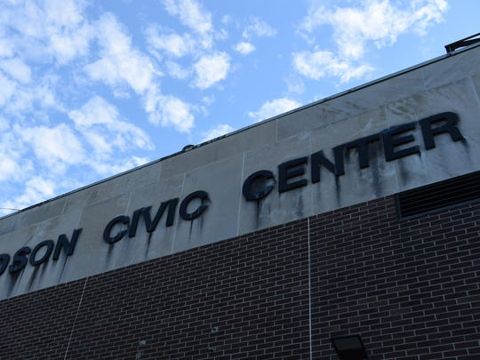A view of the rear signage at the Mid-Hudson Civic Center in the City of Poughkeepsie.