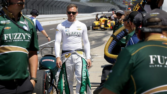 Ed Carpenter Racing IndyCar driver Ed Carpenter (20) walks to his pits during practice for the Indianapolis 500  Tuesday, May 16, 2017, afternoon at the Indianapolis Motor Speedway.