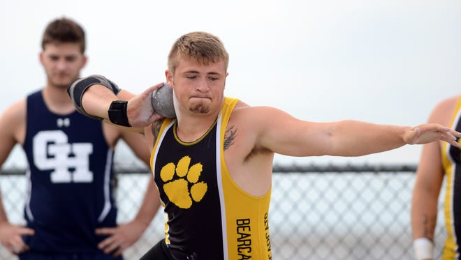 Paint Valley's Jacob Ott throws in the boys shot put at the Division III Regional track and field meet. He qualified for the state meet in the shot put and discus.