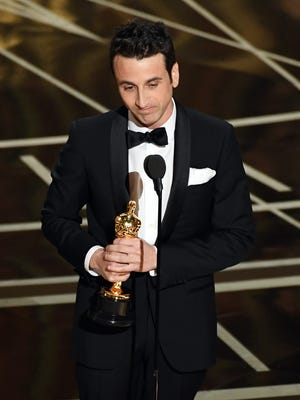 "Composer Justin Hurwitz accepts the award for best original score for ""La La Land"" onstage during the 89th Annual Academy Awards at Hollywood & Highland Center on Feb. 26, 2017 in Hollywood."