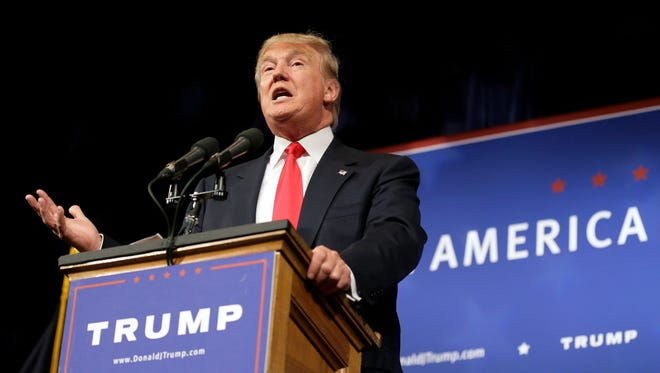 Republican presidential candidate Donald Trump speaks to supporters during a rally, Tuesday, June 16, 2015, in Des Moines, Iowa.