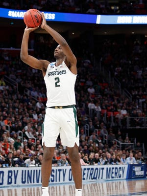 Mar 18, 2018: Michigan State Spartans forward Jaren Jackson Jr. (2) shoots in the second half against the Syracuse Orange in the second round of the 2018 NCAA Tournament at Little Caesars Arena.