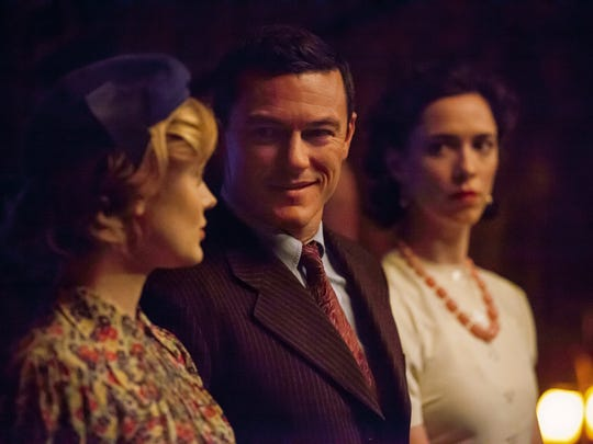 "Bella Heathcote (from left),  Luke Evans and Rebecca Hall star in ""Professor Marston and the Wonder Women."""