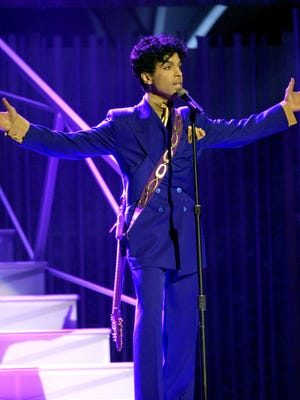 Prince performs during the 46th Annual Grammy Awards in Los Angeles in 2004.