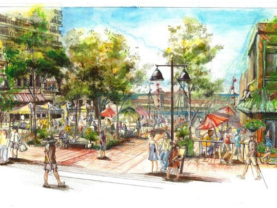 A view of the public plaza that would be part of Edgewater's multi-phase development along Lake Avenue.