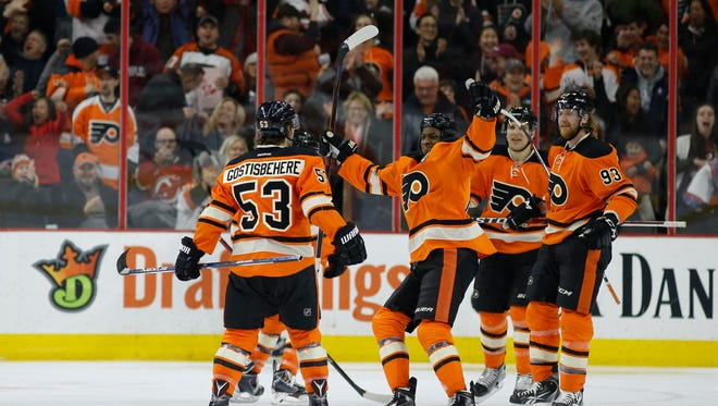 Shayne Gostisbehere extended his point streak to a record-breaking 11 games for a rookie defenseman.