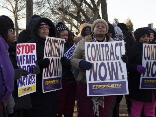 A 24-hour protest was held Monday at the AristaCare at Delaire nursing home in Linden.