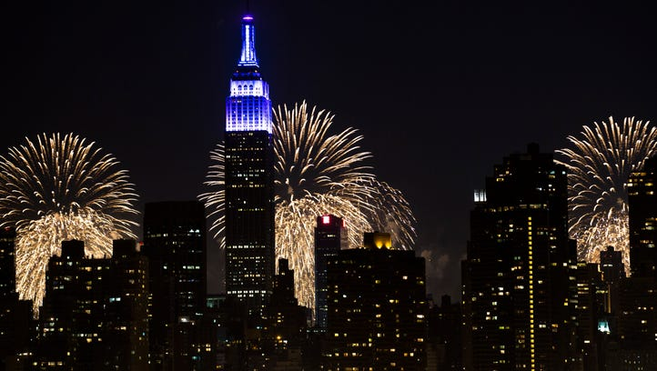 Fireworks light up the Empire State Building along