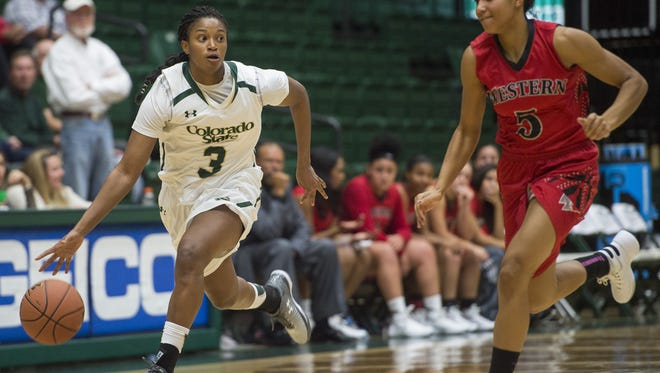 CSU's Keyora Wharry in the Rams' win over Western State last week. CSU hosts Incarnate Word at 7 p.m. Tuesday at Moby Arena.