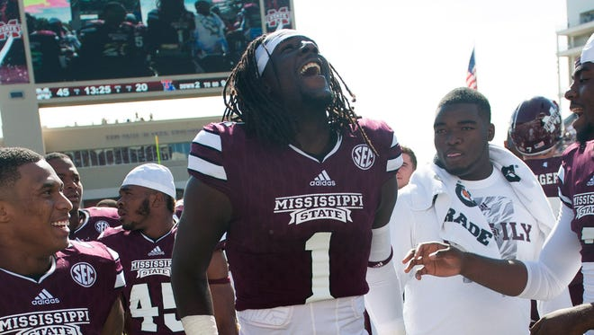 Former Mississippi State wide receiver De'Runnya Wilson (1) was invited to the NFL Combine.