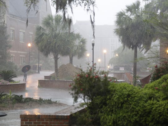 Some serious April showers struck Florida State campus Monday afternoon, prompting FSU to issue an alert for severe thunderstorms. Tallahassee was not spared by the storm system that brought heavy winds and rain to other parts of the Southeast.