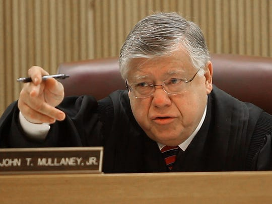 Hearing before Judge John Mullaney, Jr. on attorney general's attempts to get a defendant's cell phone records without a warrant. Mullaney on the bench - December 24, 2014-Freehold, NJ.-Staff photographer/Bob Bielk/Asbury Park Press