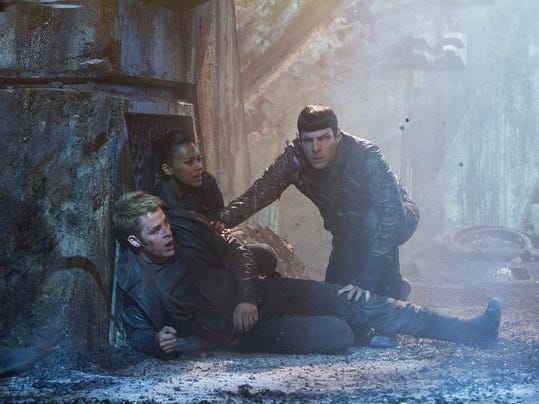 """Chris Pine as Kirk, Zoe Saldana as Uhura and Zachary Quinto as Spock in a scene from the movie, """"Star Trek Into Darkness,"""" from Paramount Pictures and Skydance Productions."""