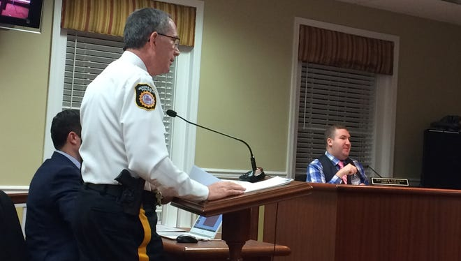 Verona Police Chief Mitchell Stern, foreground, speaks about the department's budget during a Feb. 21, 2017 Township Council meeting.