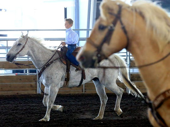 Myles Priestly helps gather calves with his brother Luke on Tuesday, April 26, 2017, at the  Richard M. Borchard Regional Fairgrounds in Robstown.