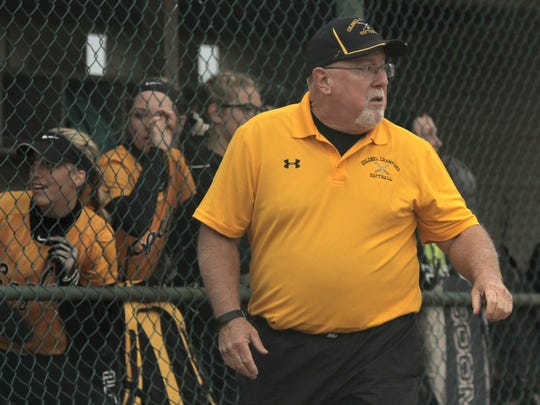 Chuck Huggins won his 15th district title in 30 years at the helm of Colonel Crawford's softball program.