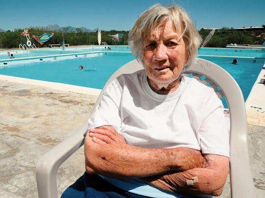 Robin Zielinski   Sun-NewsDesert Hills pool owner Judy Bennett poses for a photograph on Thursday at the swimming pool located at 5800 La Reina Road.