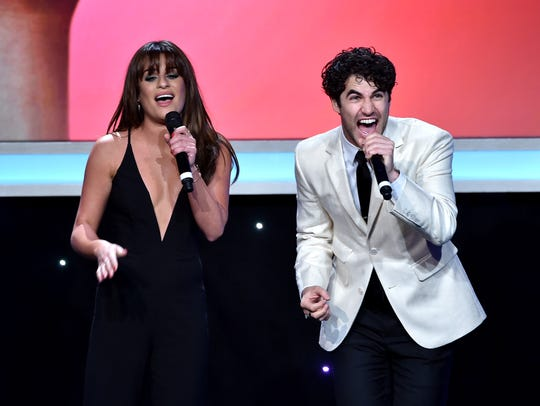 "Honorees and ""Glee"" co-stars Lea Michele (L) and Darren"