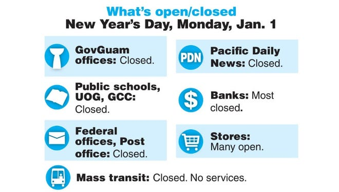 What's open and closed on Jan. 1, 2018.