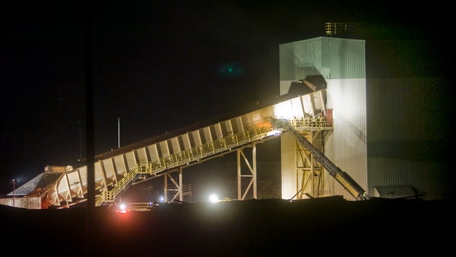 A night view of the Glatfelter paper mill in Spring Grove.