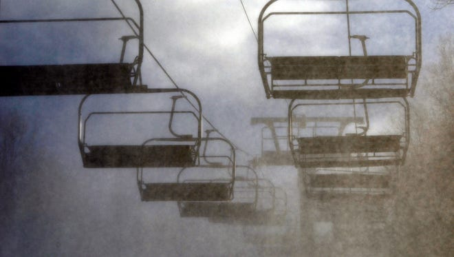 Snow is blowing on Roundtop Mountain Resort as the snow making crew finally gets suitable weather Monday, January 4, 2015. (John A. Pavoncello - The York Dispatch)