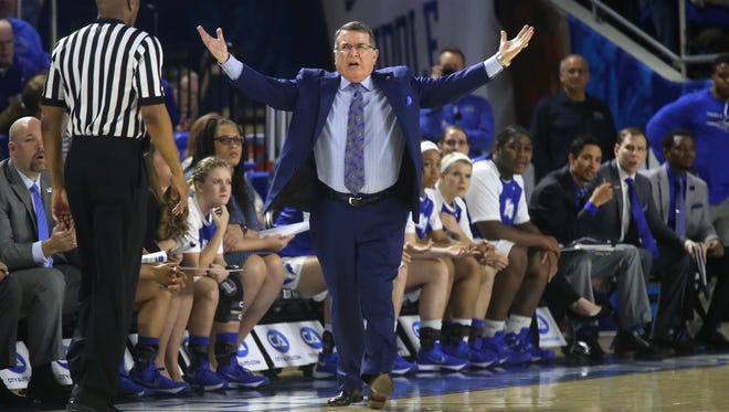 MTSU's Head Women's Coach Rick Insell yells on the sidelines about a call during the game against WKU, on Saturday, Jan. 30, 2016, at MTSU, in Murfreesboro, Tenn..