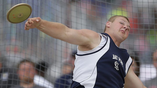 Bay Port's Cole Van Lanen makes a throw while competing in the Div. 1 discus during the WIAA state track and field meet at Veterans Memorial Field Sports Complex in La Crosse, Wis., on Saturday, June 4, 2016.