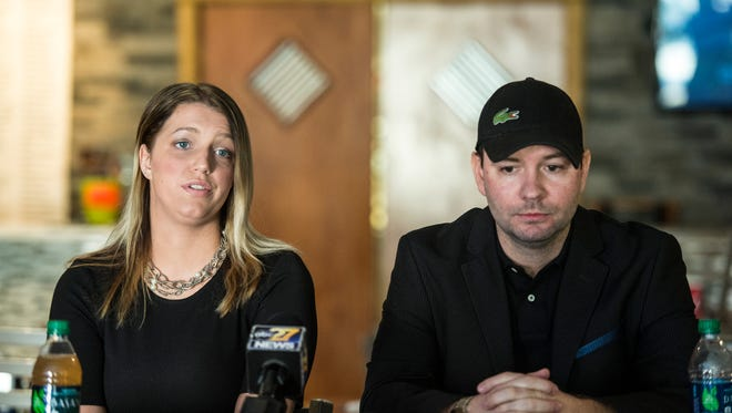 Nikki Meyer, owner of Just Wing It in Annville, and Christopher Behney, founder of the original Just Wing It, held a press conference at the Annville Just Wing It on Monday, Jan. 30, 2017 to tell their side of the story after Behney was accused of directing a racial slur toward a Lebanon Valley College student early morning on Jan. 22, 2017.