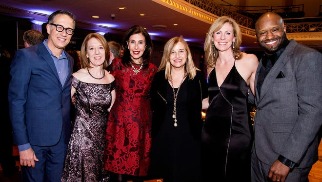Nashville Ballet Artistic Director & CEO Paul Vasterling, Ballet Ball 2017 Co-Chair Laura Currie, Ballet Ball 2017 Honorary Chairman Laurie Eskind, Mayor Megan Barry, Ballet Ball 2017 Co-Chair Martha Ivester and Ballet Ball 2017 musical guest Shannon Sanders.