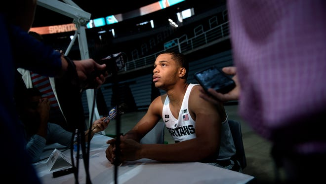 Michigan State guard Miles Bridges answers questions during MSU men's basketball media day on Wednesday, Oct. 11, 2017, at the Breslin Center in East Lansing.