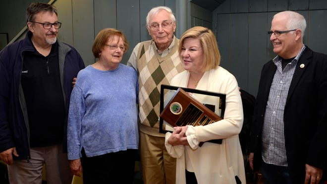 Fanwood Mayor Colleen Mahr presents Lifetime Achievement Award to Joe Nagy with Council members Tom Kranz, Kathy Mitchell and Jack Molenaar present.