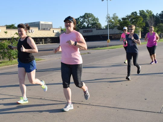 Carrie Bruyninckx (front, left), Robyn Cotton Schwartz, Tina Reyes, (center), Gege Brown (back, left) and Dana Pias take off on a four-mile run from the Louisiana Athletic Club in Alexandria. The running group usually meets at 5;30 p.m. on Tuesdays and Thursdays in the Alexandria Senior High School  parking lot for three-mile runs. On Saturdays, the group usually runs four miles. Schwartz is the wife of Ronnie Schwartz who started the beginners' running groups about eight years ago.