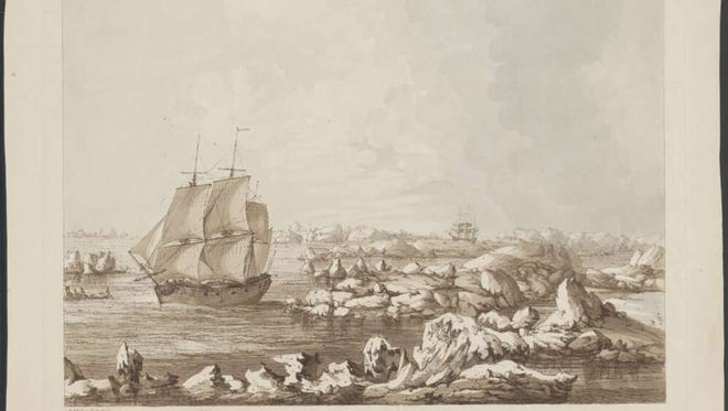 """This etching shows Capt. James Cook's ships searching in vain for the Northwest Passage in 1778. The title: """"The Resolution beating through the ice, with the Discovery in the most eminent danger in the distance."""""""