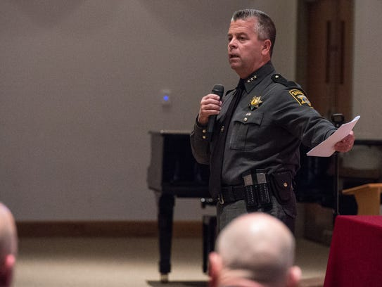 Wicomico County Sheriff Mike Lewis speaks to an audience at Allen Memorial Baptist Church during an active shooter training on Wednesday.